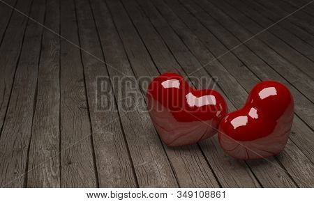Valentines Day Background With Hearts, 3d Rendering