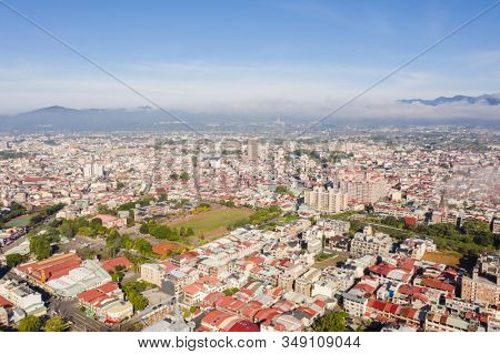 Puli, Nantou - Jan 2nd, 2020: aerial view of Puli cityscape with clouds over the city, Nantou county, Taiwan