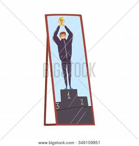 Reflection Of Successful Businessman With Winner Cup In The Mirror, Alter Ego Concept Vector Illustr