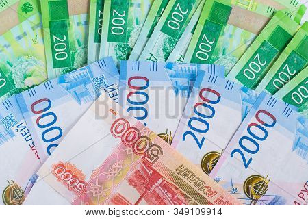 Money Of Russian Banknotes With A Face Value Of Five Thousand Two Thousand Two Hundred Rubles Backgr
