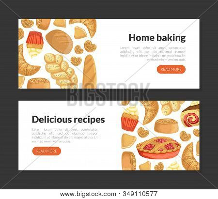 Home Baking, Delicious Recipes Landing Page Templates Set, Homepage With Fresh Baked Goods Vector Il