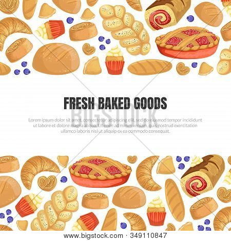 Fresh Baked Goods Banner Template With Baking Products Seamless Pattern And Place For Text Vector Il