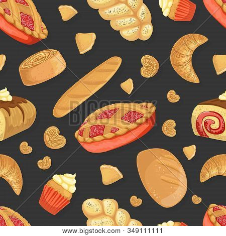 Baking Products Seamless Pattern, Fresh Baked Goods Design Element Can Be Used For Website, Cooking