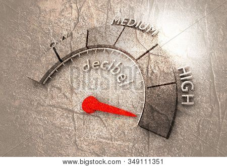 A Device For Measuring The Sound Intensity In Decibels. Infographic Gauge Element.