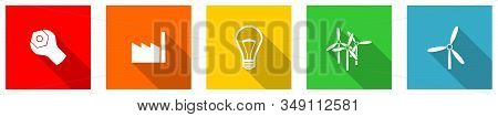 Set Of Colorful Web Flat Design Vector Icons, Energy, Factory, Electricity And Industry, Buttons In