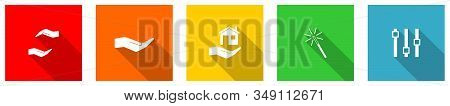 Set Of Colorful Web Flat Design Vector Icons, Hand, Care, Human, Support And Protection Buttons In E