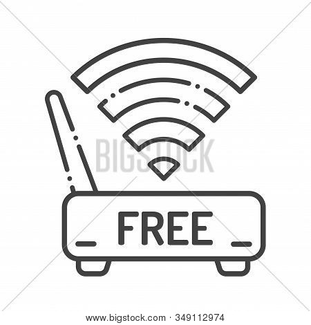 Free Wifi Black Line Icon. Hotel Amenities Sign. Open Access Symbol. Pictogram For Web Page, Mobile