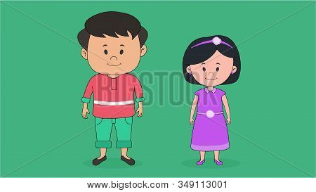 Indian Brother And Sister Vector Character For Animation.