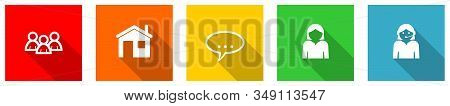 Set Of Colorful Web Flat Design Vector Icons,  Home, Support, User, Contact And Service Buttons In E
