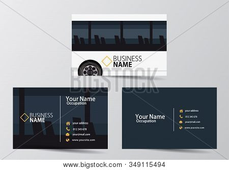 Bus Business Card. Visiting Card Template Two Sides