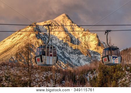Tatranska Lomnica, Slovakia - February 1:  Old Cableway And Slavkovsky Peak In High Tatras Mountains