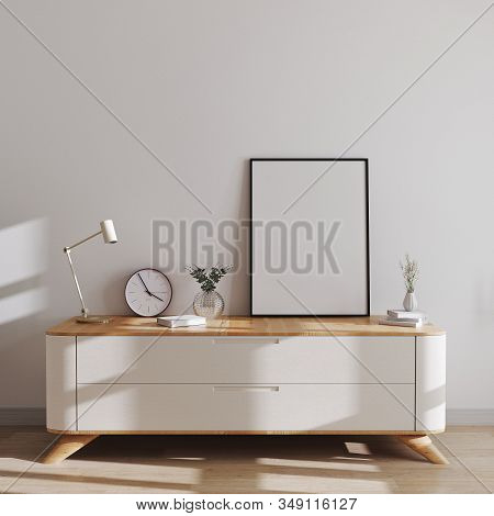 Mockup Poster Frame In Modern Scandinavian Style Interior On Minimalistic Chest Of Drawers With Deco