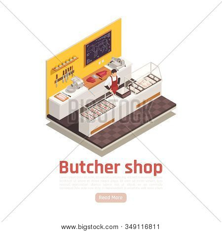 Butcher Shop Isometric Composition With Beef Cuts Salesman Sliced Meat Chicken Fillets Steaks On Cou