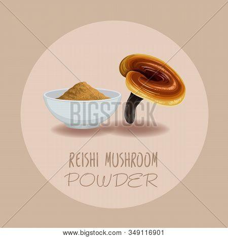 Reishi Mushroom ( Ganoderma Lucidum ) Or Lingzhi Mushroom. Healthy Organic Superfood, Vector Illustr