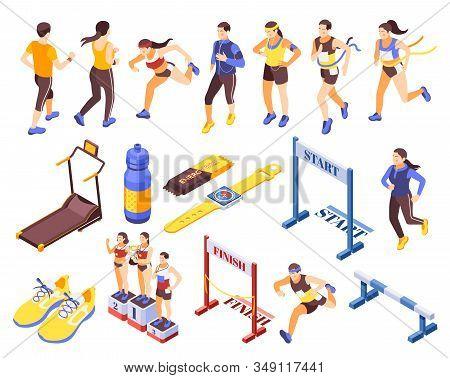 Jogging Running People Fitness Accessories Isometric Icons Set With Start Finish Sneakers Podium Tre