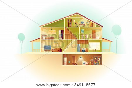 House Interior In Cross Section With Basement And Garret, Cartoon Multistorey Private Building. Atti