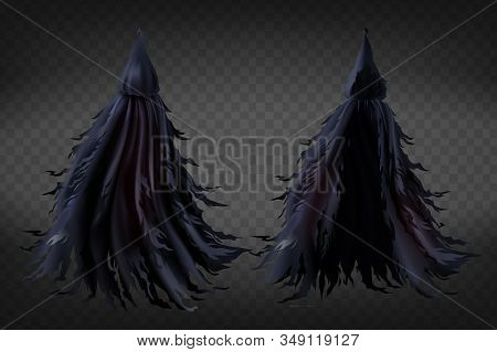 Realistic Witch Costume With Hood, Black Ragged Cape For Halloween Party Isolated On Background. Sca