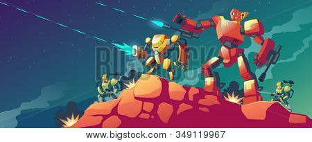 Cartoon Illustration With Robot War On Alien Planet, Mars. Landscape With Combat Robots. Battle Andr