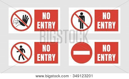 No Entry Sign Set, No People Allowed Labels And Stickers