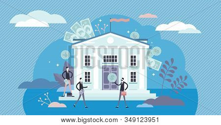 Bank Concept, Flat Tiny Persons Vector Illustration. Traditional Banking Business With Bank Building