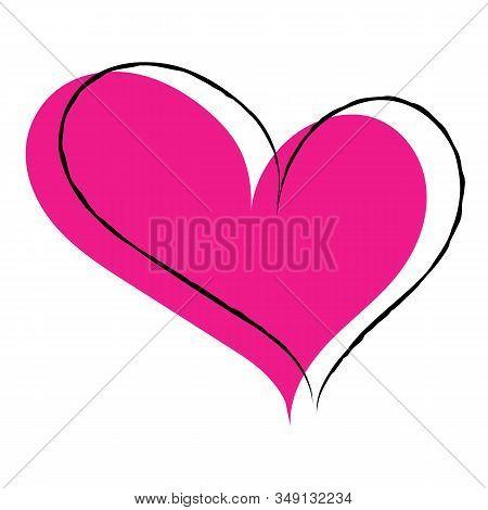 Vector Illustration. Single Pink Hand Drawn Heart With Black Stroke. Hand Drawn Love Symbols. Cute B