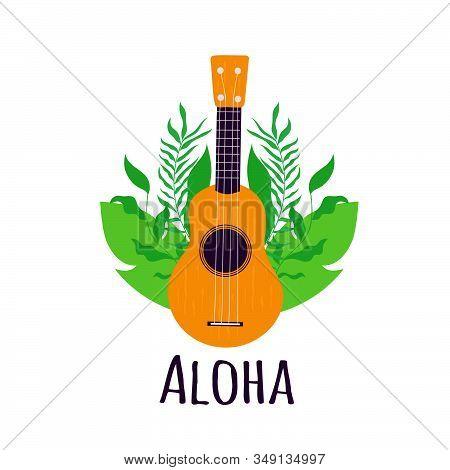 Aloha. Hawaii Guitar Ukulele With Hand Drawn Tropical Leaves On Background. Vector Illustration.