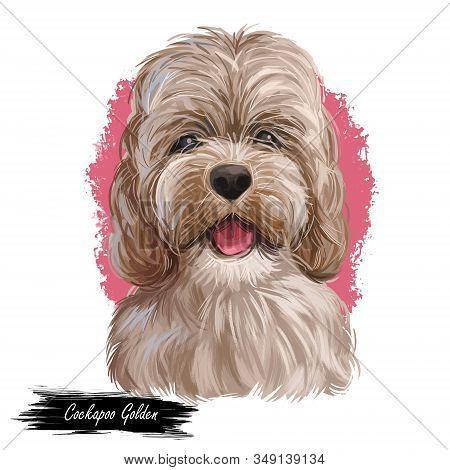 Golden Cockapoo Dog Digital Art Illustration Of Cute Canine Animal. Mixed-breed Dog Cross Between Am