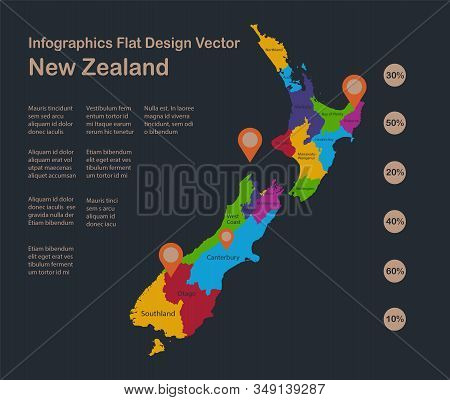 Infographics New Zealand Map, Flat Design Colors, With Names Of Individual States, Blue Background W