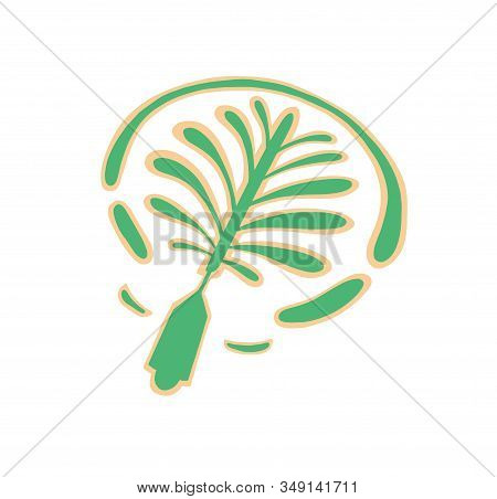 Icon Hand Drawing Of Palm Tree Artificial Island In Dubai, United Arab Emirates, Middle East