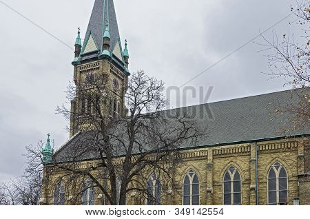 Historic Neo-gothic Style Church Nave And Bell Tower In Lincoln Village Neighborhood Of Milwaukee Wi