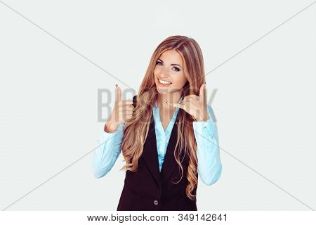 Call Me, You Will Like It. Beautiful Smiling Young Girl, Female Showing Thumbs Up Gesture With One H