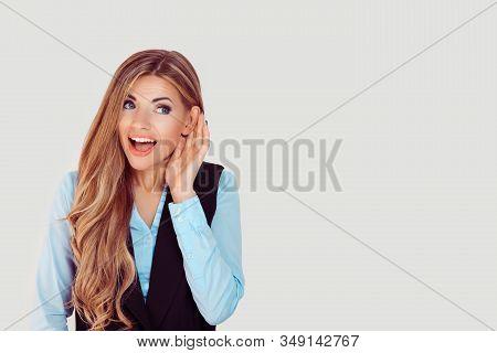 Eavesdropping. Closeup Portrait Happy Nosy Woman Hand To Ear Gesture Carefully Secretly Listening Ju