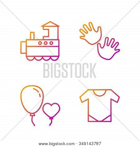 Set Line Baby Onesie, Balloons In Form Of Heart, Toy Train And Baby Hands Print. Gradient Color Icon