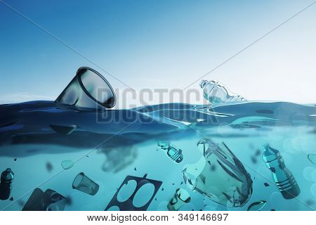 Ocean Pollution - Floating Bags And Human Plastic Waste In The Open Ocean. 3d Illustration.