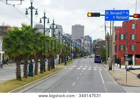 New Orleans, Louisiana, U.s.a - February 4, 2020 - The View Of The Road And Traffic Near Rampart Str