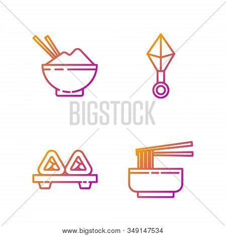 Set Line Asian Noodles In Bowl And Chopsticks, Sushi On Cutting Board, Rice In A Bowl With Chopstick