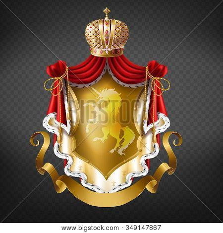 Golden Royal Coat Of Arms With Crown, Shield With Unicorn, Red Mantle With Fur Fringe And Gold Ribbo