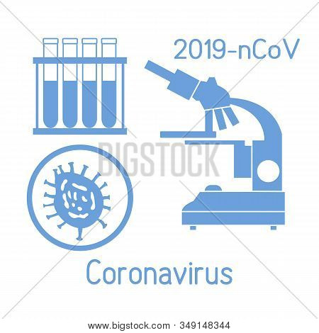 Vector Illustration  Microscope,  Research Chinese Corona Virus Ncov, Test Tubes Protect From 2019-n
