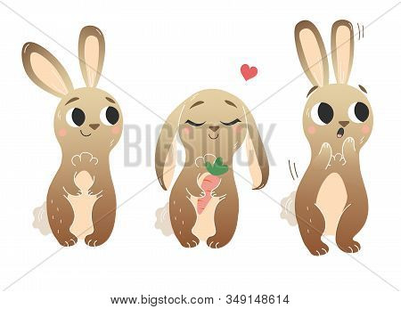 Cute Cartoon Hare Vector Set. Hares In Different Postures. Standing Hare, Hare With Carrot, Scared H