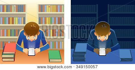 Library App On A Smartphone And Bookshelves On The Background With Colorful Books. Young Person Read