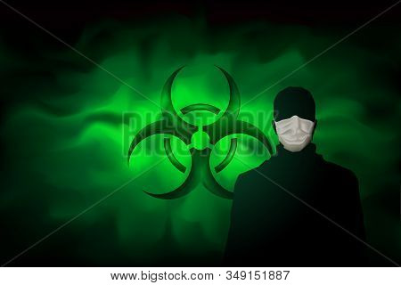 A Man In A Mask Against The Background Of A Biohazard Sign And A Poisonous Dangerous Haze. Contamina