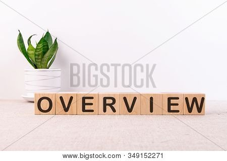 Overview Word Made With Building Blocks On A Light Background