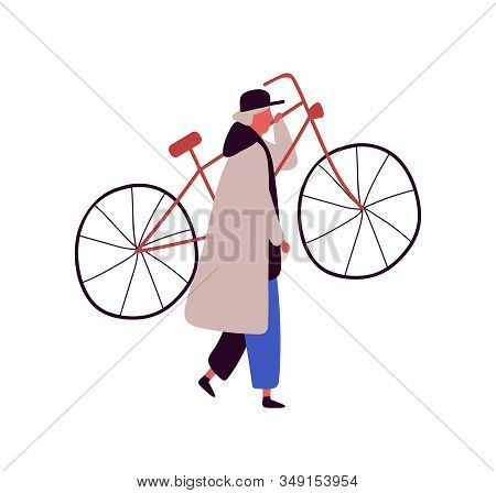 Cartoon Man In Cap And Cloak Raising Up Bike Isolated On White Background. Colored Male Character Ca