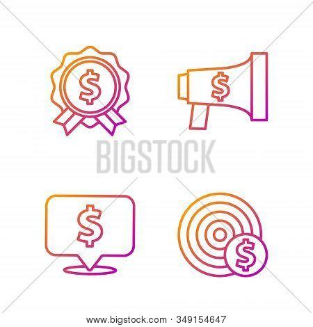 Set Line Target With Dollar Symbol, Speech Bubble With Dollar, Price Tag With Dollar And Megaphone A