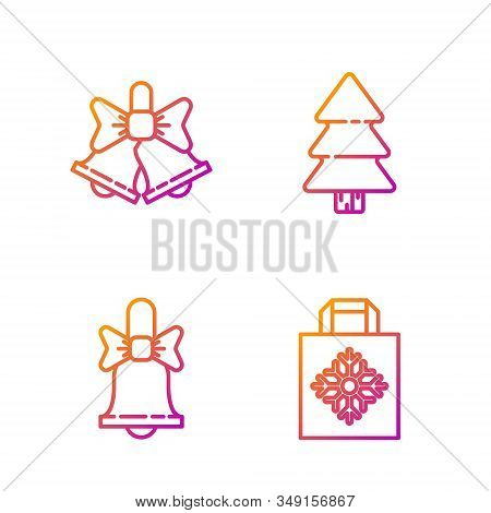Set Line Christmas Paper Shopping Bag, Merry Christmas Ringing Bell, Merry Christmas Ringing Bell An