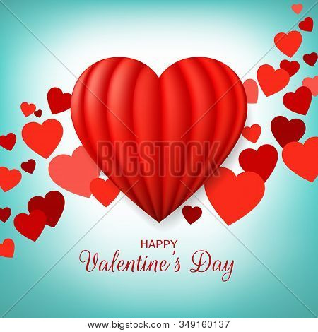 Valentine's Day Greeting Card With Red Hot Air Balloon Heart. Happy Valentine Day Banner. Love Decor