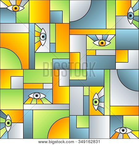 Creative Pattern With Eyes In Geometric Shapes Grid Mondrian Avant Garde Fashion Textile Print. Patc