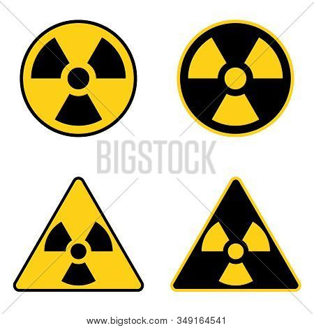 Sign Of Radiation. Round And Triangular Realistic Radiation Sign. Vector, Cartoon Illustration Of A