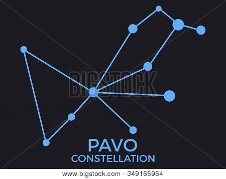 Pavo Constellation. Stars In The Night Sky. Cluster Of Stars And Galaxies. Constellation Of Blue On