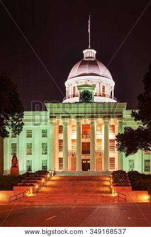 Alabama State Capitol (historic First Confederate Capitol) In Montgomery, Capital Of Alabama State,